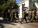 Army Soldiers Marching, Defense Ministry Building, National Garden of Athens, Greece Photographic Print