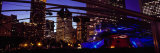 Buildings Lit Up at Night, Millennium Park, Chicago, Cook County, Illinois, USA Fotografisk tryk af Panoramic Images