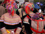 Rear View of Two Flower Hmong Women at a Market, Bac Ha Sunday Market, Lao Cai Province, Vietnam Photographic Print