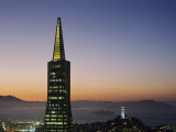 Buildings Lit Up at Dusk, Transamerica Pyramid, Coit Tower, San Francisco, California, USA Photographic Print