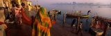 Boats in a River, Yamuna River, Vrindavan, Mathura District, Uttar Pradesh, India Photographic Print by  Panoramic Images