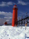 Lighthouse on a Snow Covered Coast, Grand Haven South Pierhead Lighthouse, Ottawa County, Michigan Photographic Print