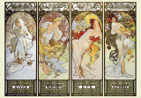 Die Jahreszeiten|Les Saisons Kunstdrucke von Alphonse Mucha