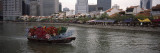Decorated Boat in a River with Buildings in the Background, Boat Quay, Singapore River, Singapore Photographic Print by  Panoramic Images