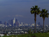 Cityscape with Mountains in Background, San Gabriel Mountains, City of Los Angeles, California, USA Photographic Print