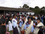 Indian Women Dancing at Private San Juan Feast, Hacienda Zuleta, Otavalo, Ecuador Photographic Print