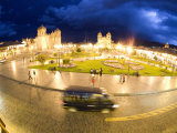 View of Tourists at a Town Square, Cuzco, Cusco Province, Peru Photographic Print