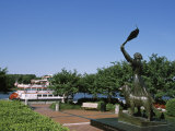 Statue in Park with Boat in Back, Waving Girl Statue, Savannah River, Chatham County, Georgia Photographic Print