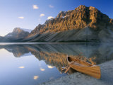 Canoe at the Lakeside, Bow Lake, Alberta, Canada Photographic Print