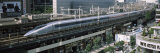 300 Series Shinkansen Train Leaving Railroad Station, Tokyo Prefecture, Kanto Region, Honshu, Japan Fotografie-Druck von Panoramic Images