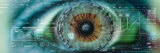 Close-Up of an Eye with Tech Diagrams in Abstract Fotografisk tryk af Panoramic Images,