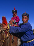 Karakorum, Horse Herder and His Son on Horseback, Mongolia Photographic Print by Paul Harris