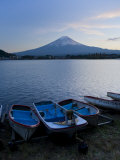 Honshu Island, Kawaguchi Ko Lake, Mt, Fuji and Boats, Japan Photographic Print by Michele Falzone