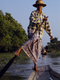 Village Girl Poles Her Wooden Canoe, Myanmar Photographic Print by Antonia Tozer