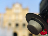 Spanish Gaucho Hat Hangs in Front of the Plaza De Espana in Seville Photographic Print by Andrew Watson