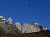 Moon over the Towers of Paine from Camping Torres Photographic Print by John Warburton-lee