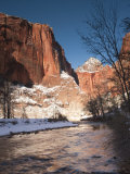 Utah, Zion National Park, Landscape by the North Fork Virgin River, Winter, USA Photographic Print by Walter Bibikow