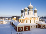 Uspensky Cathedral with the Old Part of Tikhvin Town in Winter, Monastery, Leningrad Region, Russia Photographic Print by Nadia Isakova