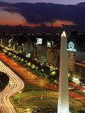Avenida 9 De Julio, Buenos Aires, Argentina, Obelisko Lámina fotográfica por Peter Adams