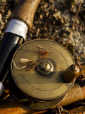 Traditional Brass Fishing Reel Fitted to a Split-Cane Fly Rod with Trout Fishing Flies, UK Photographic Print by John Warburton-lee