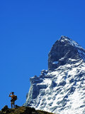 Switzerland the Valais Zermatt Alpine Resort the Matterhorn Hiker on Trail Below Matterhorns Peak Photographic Print by Christian Kober
