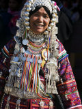 Akha Woman with Silver Headdress and Necklace Embellished with Glass Beads, Burma, Myanmar Photographic Print by Nigel Pavitt