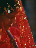 Nepali Woman Dressed in Wedding Veil, Kathmandu, Nepal Photographic Print by Paul Harris