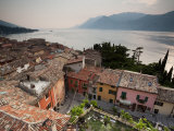 Veneto, Lake District, Lake Garda, Malcesine, Town View from Castello Scaligero Castle, Italy Photographic Print by Walter Bibikow