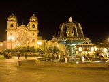 Fountain Lit Up at Night at a Town Square, Cuzco, Cusco Province, Cusco Region, Peru Photographic Print