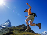 Matterhorn Hiker Running the Trail, Zermatt, Valais, Switzerland Photographic Print by Christian Kober