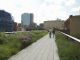 Couple Walking in Park, High Line Park, 20th Street, Manhattan, New York City, New York State, USA Photographic Print