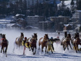 Skijoring on the Frozen Lake at St Moritz Photographic Print by John Warburton-lee