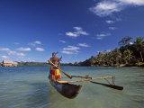 Ni-Vanuatu Warrior Rowing a Canoe, Vanuatu Photographic Print by Neil Farrin