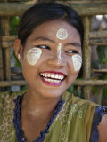 Burma, Kaladan River, A Rakhine Woman with Thanakha, a Popular Local Sun Cream, Myanmar Photographic Print by Nigel Pavitt