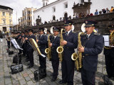 Municipal Band Performing at a Town Square, Plaza De San Francisco, Quito, Ecuador Photographic Print