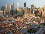 Elevated View over Chinatown, the New Buddha Tooth Relic Temple and Modern City Skyline, Singapore Photographic Print by Gavin Hellier