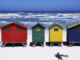 Victorian-Style Bathing Boxes on the Beach, Western Cape, South Africa Fotografie-Druck von John Warburton-lee