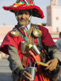 Moroccan Water Seller in Traditional Dress in the Djemaa El Fna, Marrakech, Photographic Print