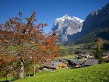 Traditional Houses, Wetterhorn and Grindelwald, Berner Oberland, Switzerland Photographic Print by Doug Pearson