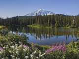Reflection of Mountain and Trees in Lake, Mt Rainier National Park, Washington State, USA Photographie
