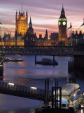 Big Ben and the Houses of Parliament Seen across the River Thames from Waterloo Bridge at Sunset Photographic Print by Julian Love