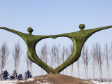 Northeast China, Harbin City, Modern Art Sculpture Statue of People Holding Hands in Heart Shape Photographic Print by Christian Kober