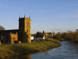 Bangor-On-Dee's Sandstone Church, Sant Dunawd's, Sits Beside the River Dee, Wales Photographic Print by John Warburton-lee