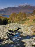Ashness Bridge and Skiddaw Mountain Range, Lake District, Cumbria, England Photographic Print by Gavin Hellier