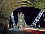 Night Time Traffic Crosses Tower Bridge in Central London Photographic Print by Andrew Watson
