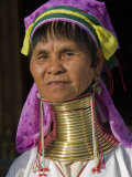 Padaung Woman of Karen Sub-Tribe Wearing Brass Necklace Which Elongates the Neck, Burma, Myanmar Photographic Print by Nigel Pavitt
