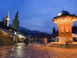 Bascarsija, Old Turkish Quarter and Sebilj Fountain Photographic Print by Christian Kober