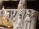 Bandiagara Plateau, Meeting Area in Dogon Village Built into Cliff at Base Bandiagara Plateau, Mali Photographic Print by Mark Hannaford