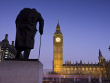 Winston Churchill Statue, Big Ben, Houses of Parliamant, London, England Photographic Print by Jon Arnold