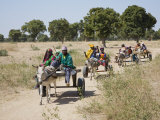 Mopti, Farmers Return to their Village Near Mopti on Donkey-Drawn Carts, Mali Photographic Print by Nigel Pavitt